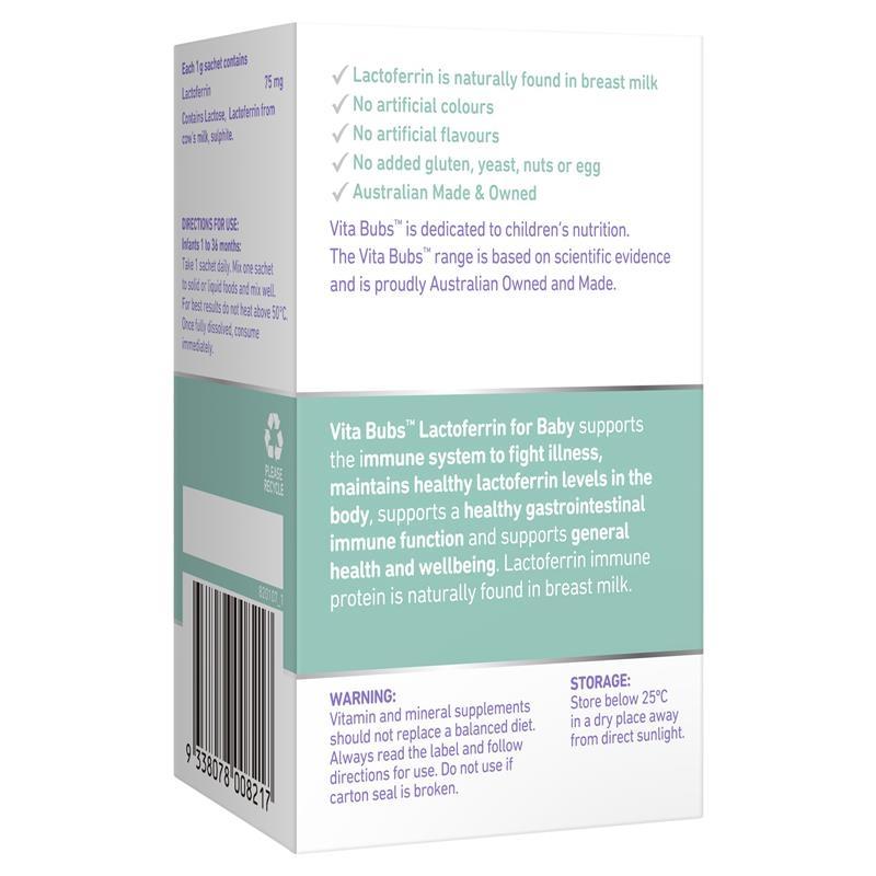 Tăng cường hệ miễn dịch Vita Bubs Immune Health Lactoferrin for Baby 28 x 1g sachets