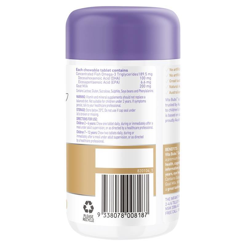 Viên nhai bổ sung DHA Omega 3 - Vita Bubs Kids Brain Health Goat Milk + DHA Omega 3 60 Chewable Tablets