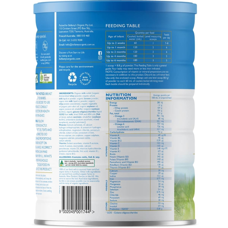 Bellamy's Organic Infant Baby Formula Stage 1 From Birth To 6 Mo 900g