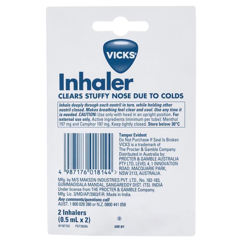 Ống hít xông mũi Vicks Inhaler Nasal Decongestant 2 Pack