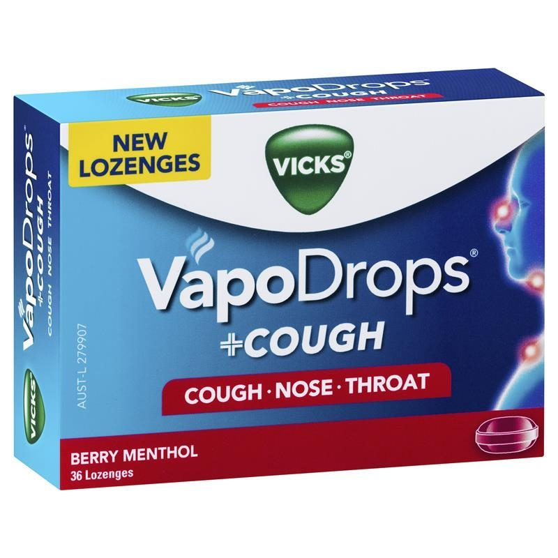 Viên ngậm ho Vicks VapoDrops + Cough Berry Menthol 36 Lozenges