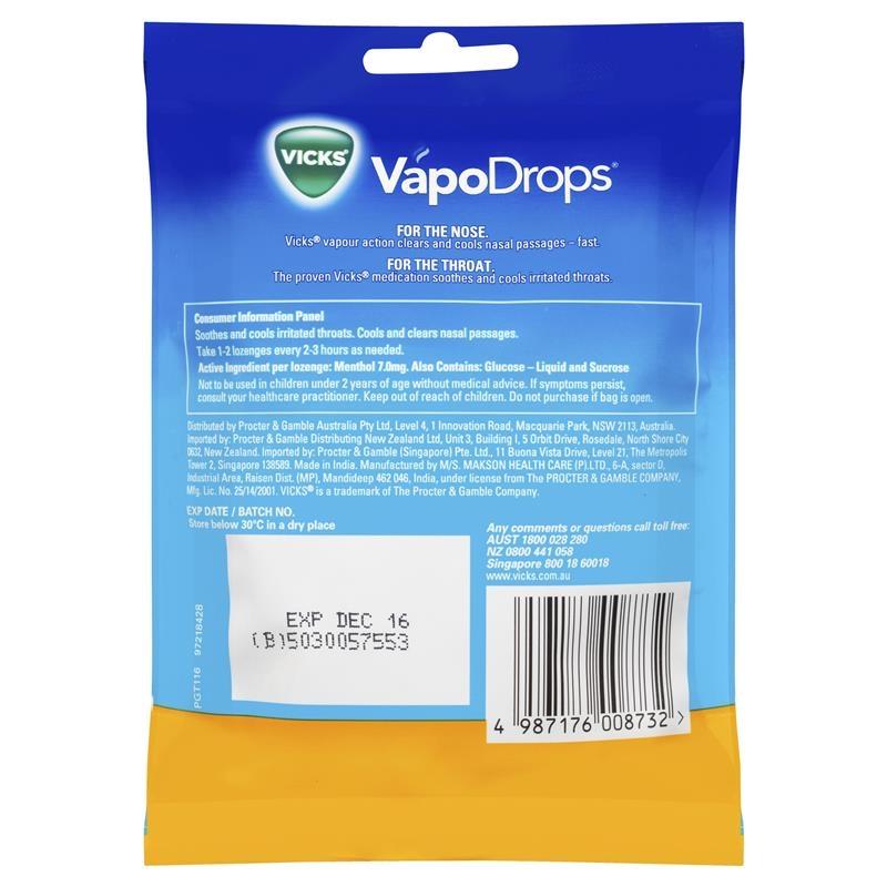 Viên ngậm ho Vicks VapoDrops Butter Menthol Lozenges 24 Pack