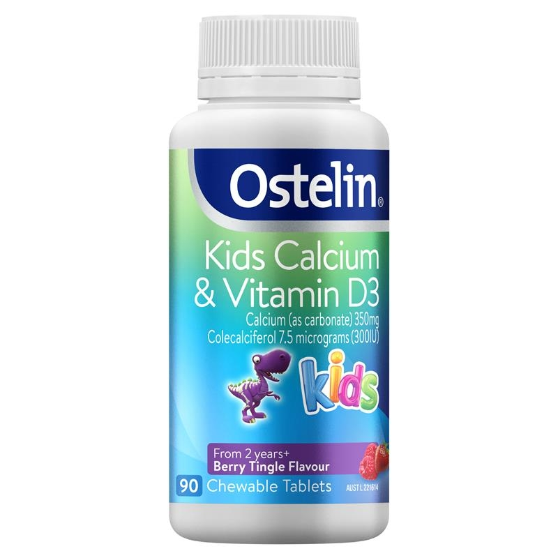 Viên uống bổ sung canxi - Ostelin Kids Calcium & Vitamin D3 - Calcium & Vitamin D for Children - 90 Chewable Tablets