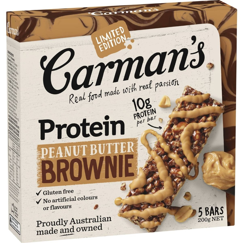 Carman's Peanut Butter Brownie Protein Bars 5 pack
