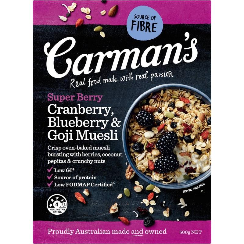 Carman's Super Berry Muesli Blueberry & Goji Muesli 500g