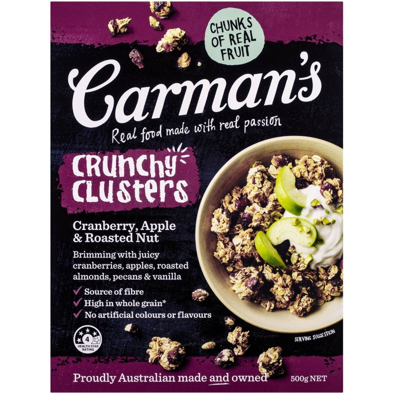 Carman's Cranberry Apple & Roasted Nut Crunchy Clusters 500g