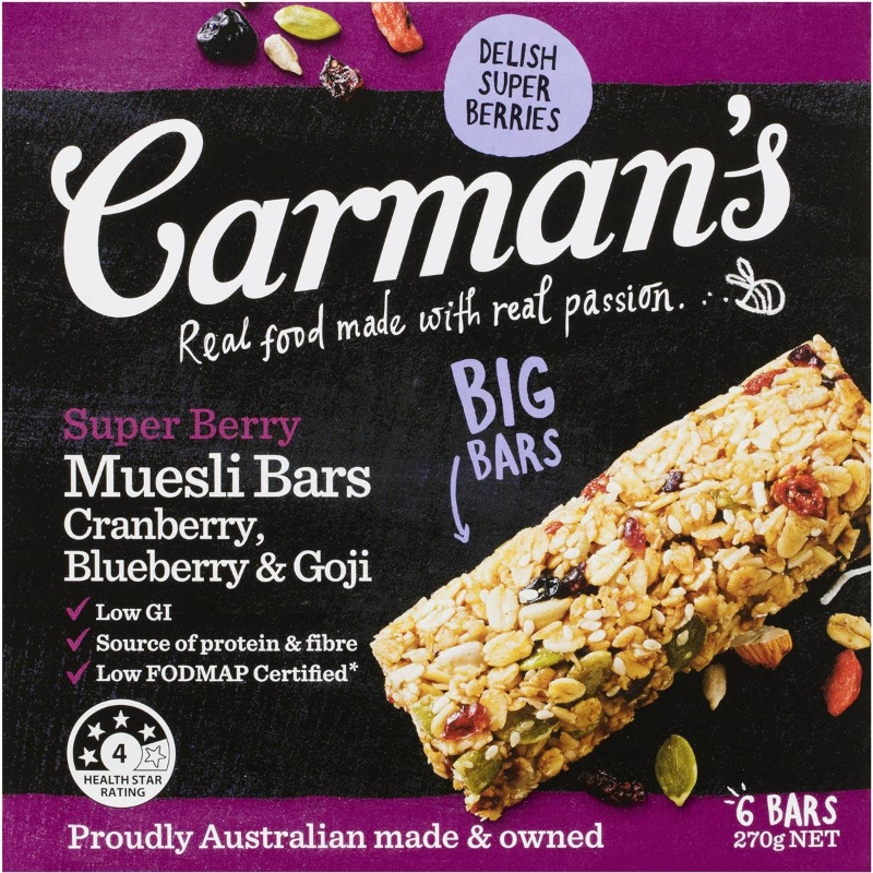 Carman's Super Berry Muesli Bars 6 pack