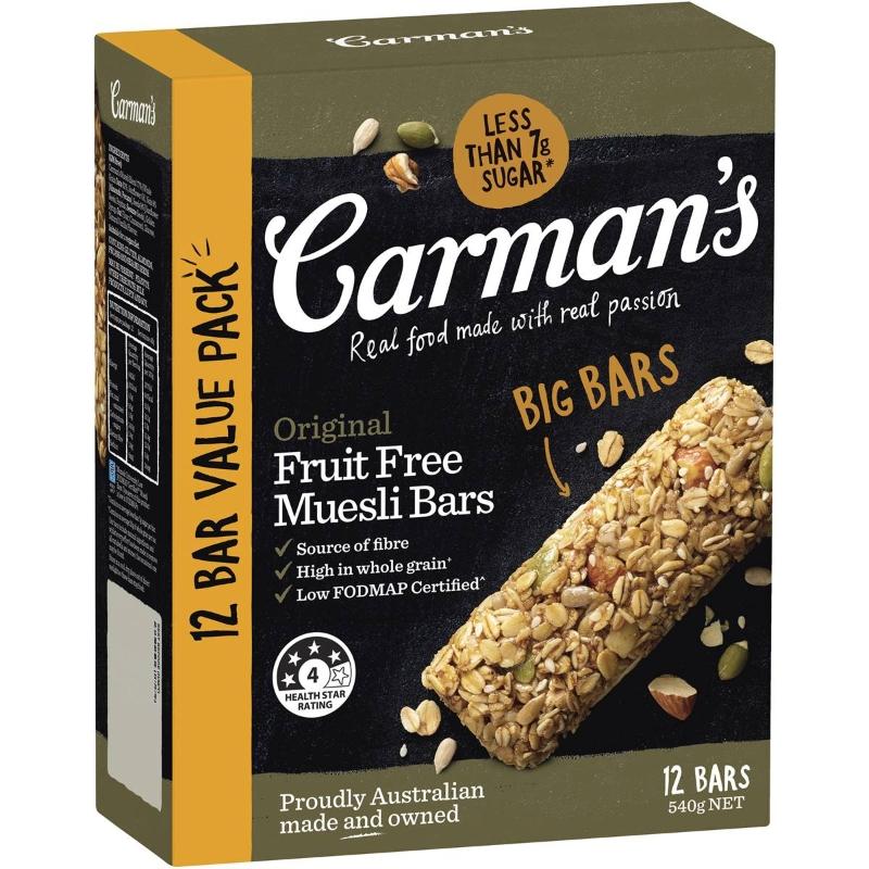 Carman's Muesli Bars Original Fruits Free 12 pack