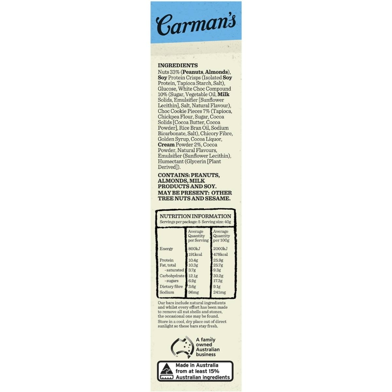 Carman's Limited Edition Cookies & Cream Bars 5 pack