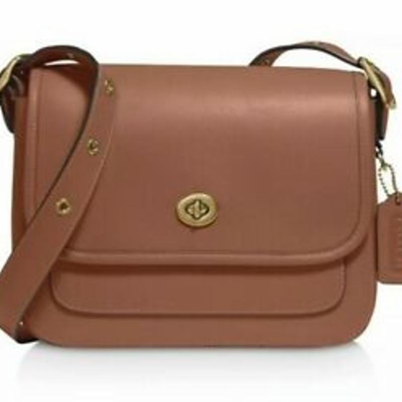 Túi đeo chéo NWT COACH 89127 Rambler Mini Leather Crossbody, Saddle/Gold Satchel Handbag Bag