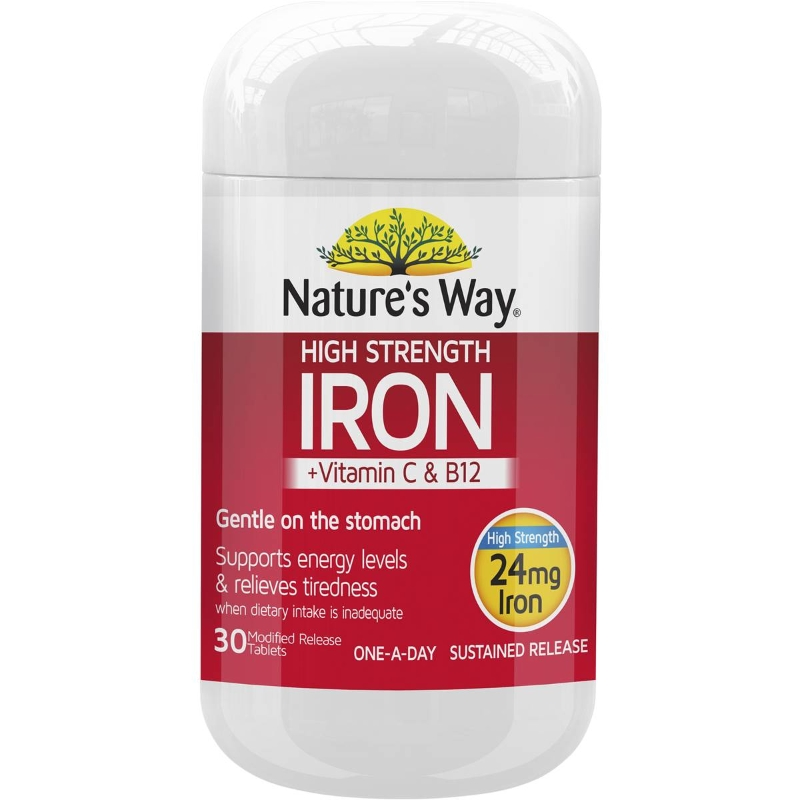 Nature's Way High Strength Iron +vitamin C & B12 Tablets 30 pack