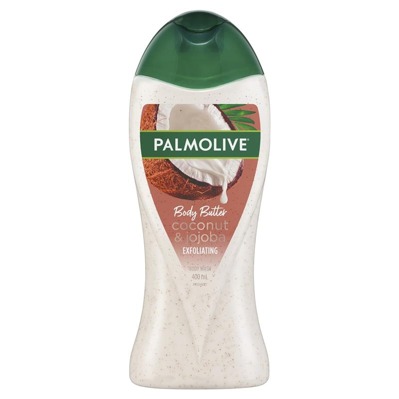 Palmolive Body Butter Coconut Scrub Jojoba Exfoliating Body Wash 400mL