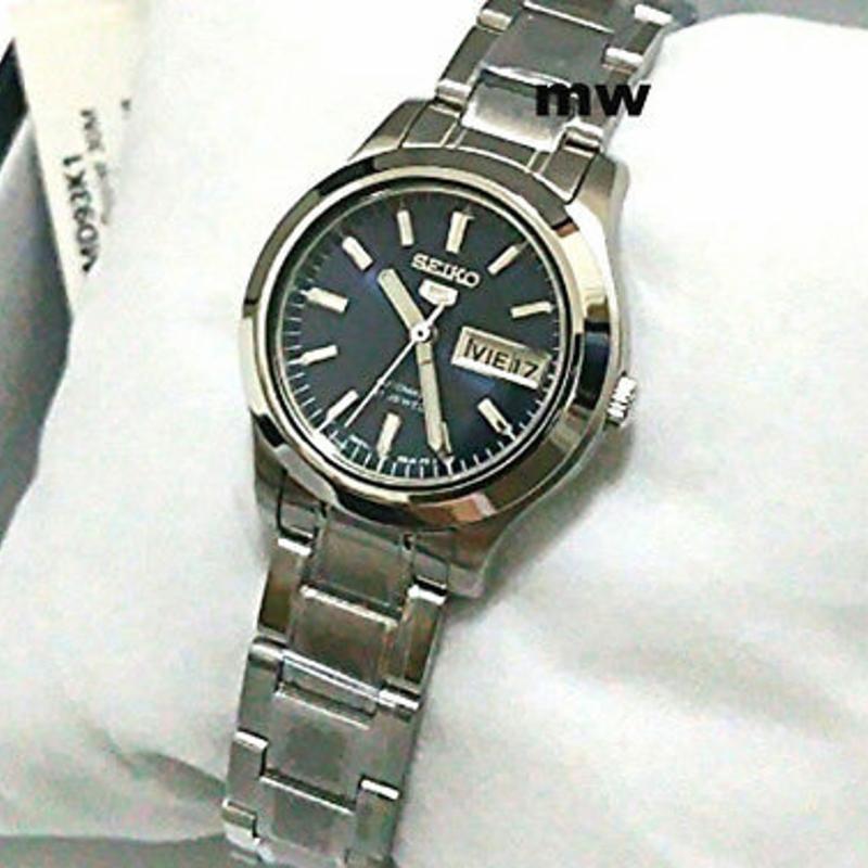 New Authentic Seiko 5 Automatic Ladies Dress Day Date Blue Watch SYMD93 SYMD93K1