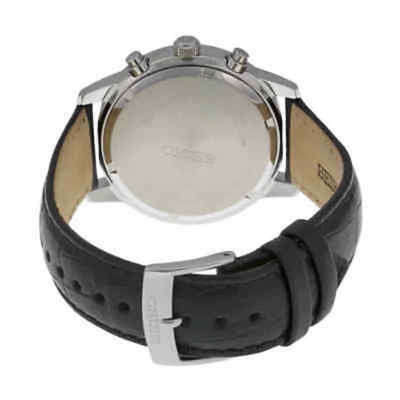 Seiko Chronograph Black Dial Black Leather Men's Watch SNDC33