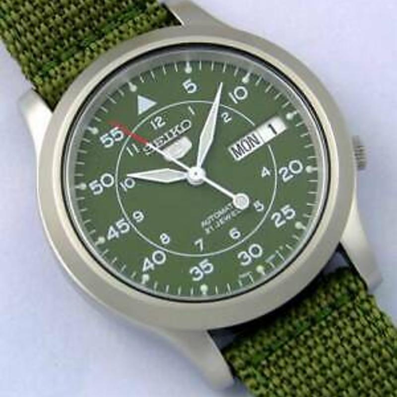 Seiko 5 Automatic SNK805 SNK805K2 Mens Green Dial Nylon Strap Watch Free Ship