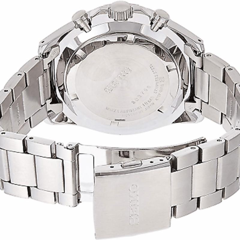 Seiko Chronograph SSB379 SSB379P1 Stainless Steel Black Dress Quartz Mens Watch