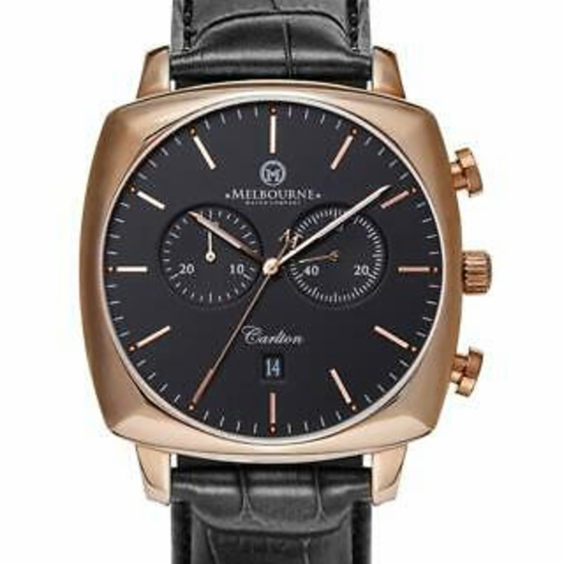 Melbourne Watch Company Mens Carlton Black Rose Watch