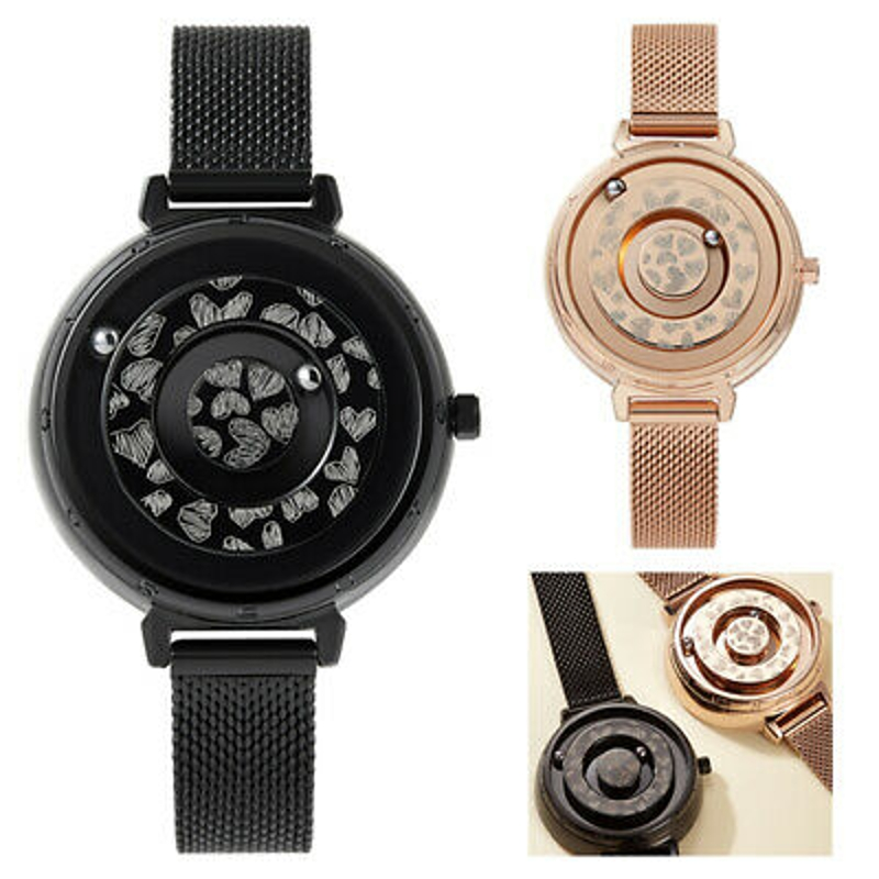 Women's Ladies Magnetic No Pointer Wrist Watches Quartz Stainless Steel Stripe