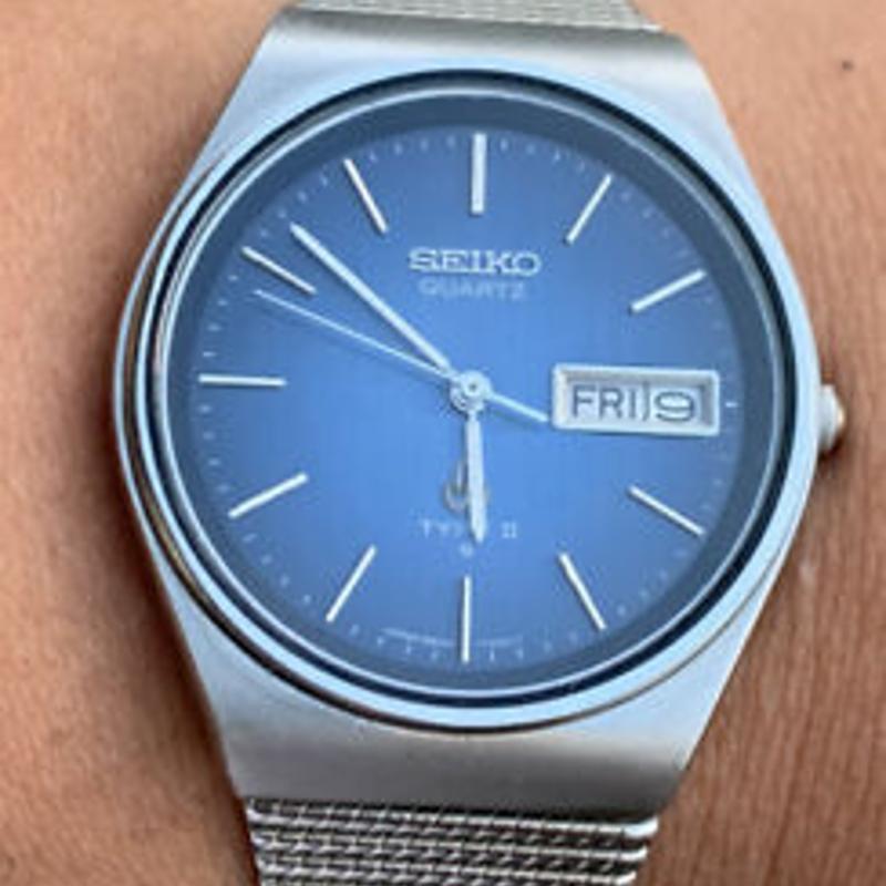 1980 Seiko Quartz Type 2 35mm Vintage Watch 8223-701D