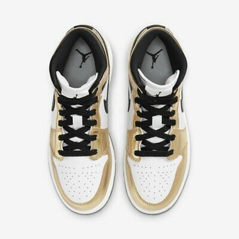 Nike Air Jordan 1 Mid SE Metallic Gold Black White DC1420-700 Men's GS 4Y-13