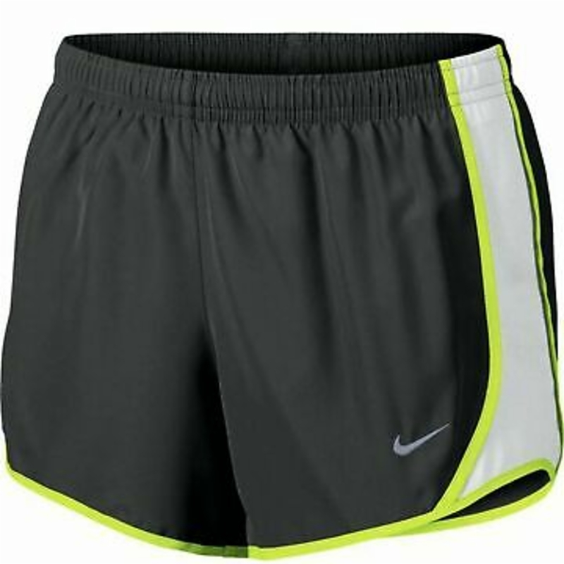 Nike Shorts Big Girls Small Gray with Neon Authentic Dry Tempo Running 3 Inch