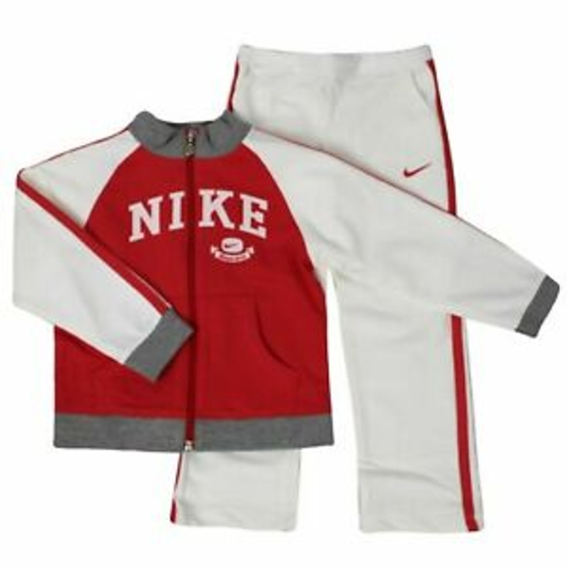 Nike Girls Youths Tracksuit Track Top Pants Joggers Logo Red White 494349 622