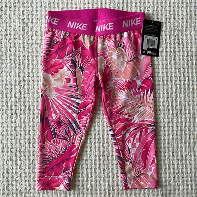 Nike Dri Fit Wonderland Capri Leggings Girls Size 6X Pink Athletic Floral Print
