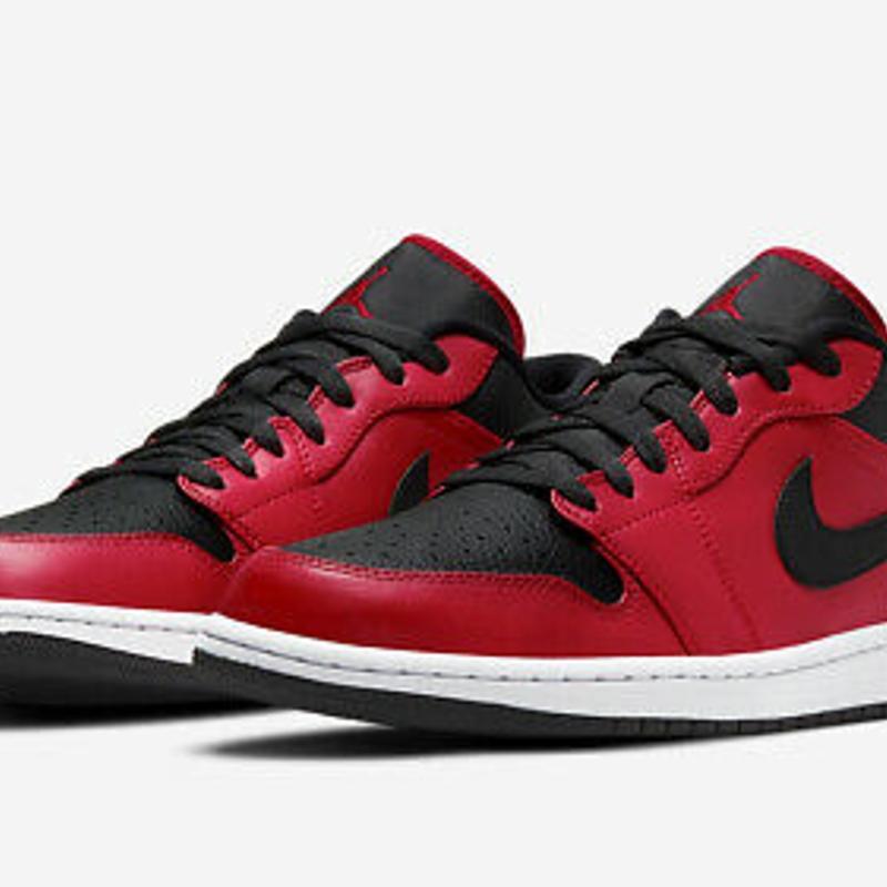 Nike Air Jordan 1 Low Black Red Multi Size US Mens Athletic Shoes Sneakers