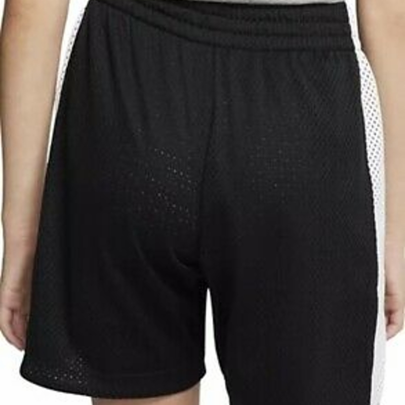 "New Nike Logo Mesh Training Shorts Girls M 10-12 DRI-FIT Loose Black 8"" Bottoms"