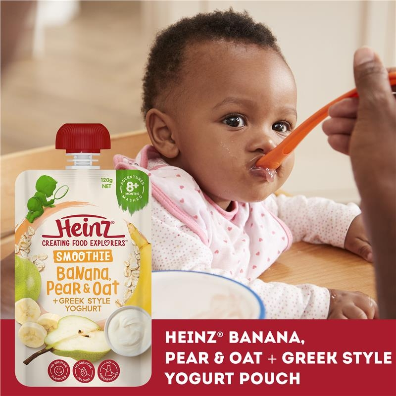 Váng sữa - Heinz Banana & Oat Smoothie with Greek style Yoghurt Pouch 120g 8m+