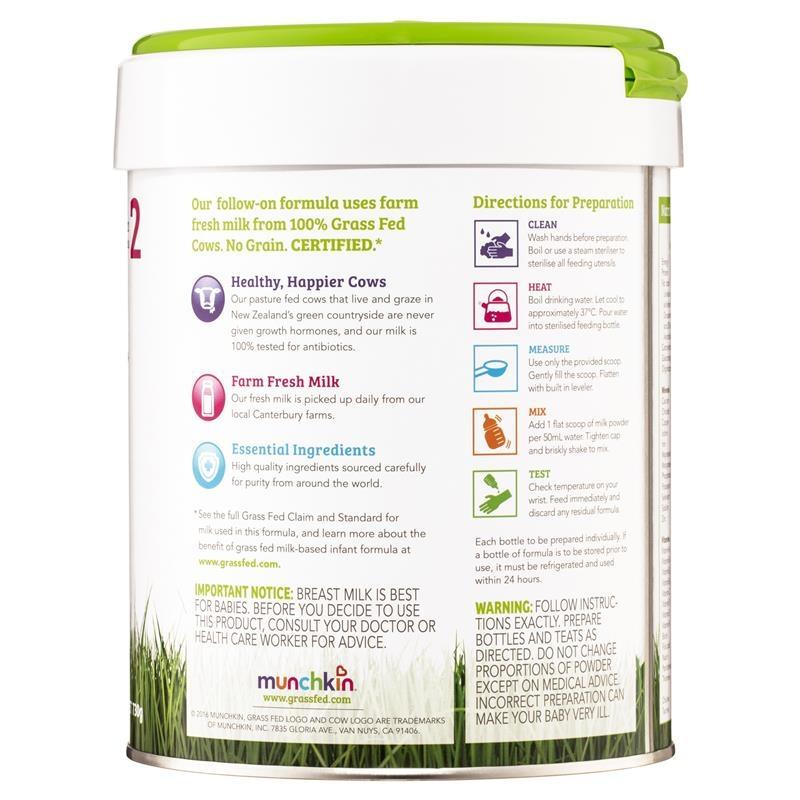 Sữa cho trẻ từ 6 - 12 tháng Munchkin Grass Fed Milk-Based Follow On Formula Stage 2 730g Online Only