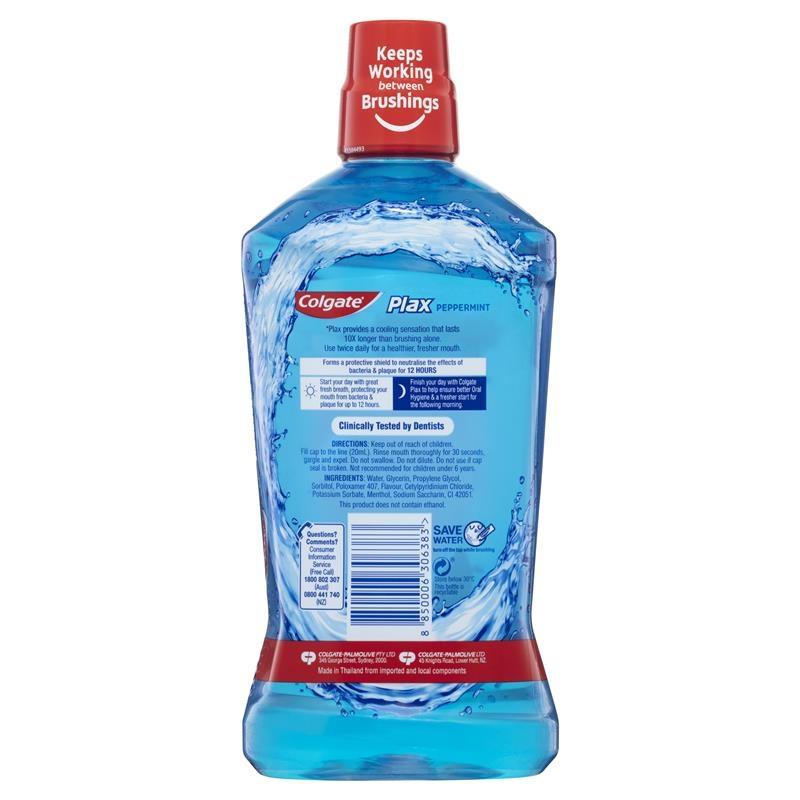 Nước súc miệng Colgate 1L Colgate Plax Alcohol free Antibacterial Mouthwash Peppermint 1L