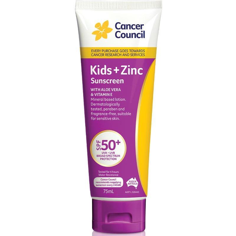 Kem chống nắng cho bé Cancer Council SPF 50+ Kids + Zinc Sunscreen 75ml Tube