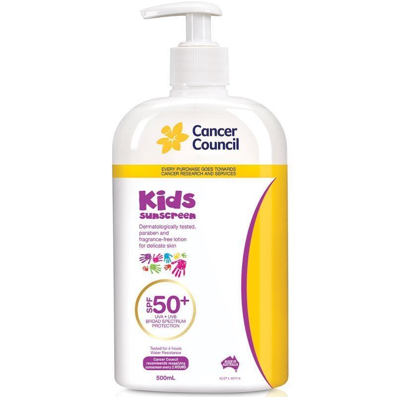 Kem chống nắng Cancer Council SPF 50+ Kids 500ml Pump