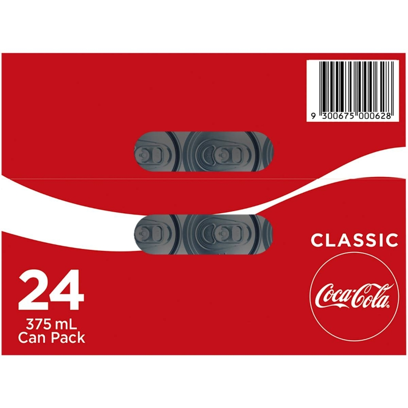 Coca-cola Classic Soft Drink Multipack Cans 375ml x24 pack