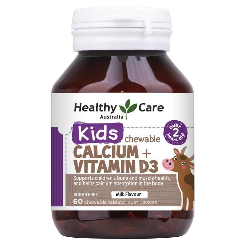 Healthy Care Kids Calcium + Vitamin D3 60 Chewable Tablets