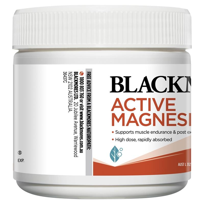 Bột uống bổ sung magie Blackmores Active Magnesium 200g Powder