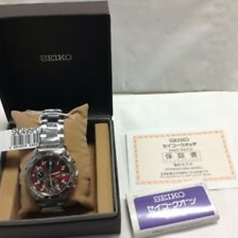 SEIKO SND495P1 Chronograph Stainless Steel Red Dial Men's Watch JAPAN EMS F/S