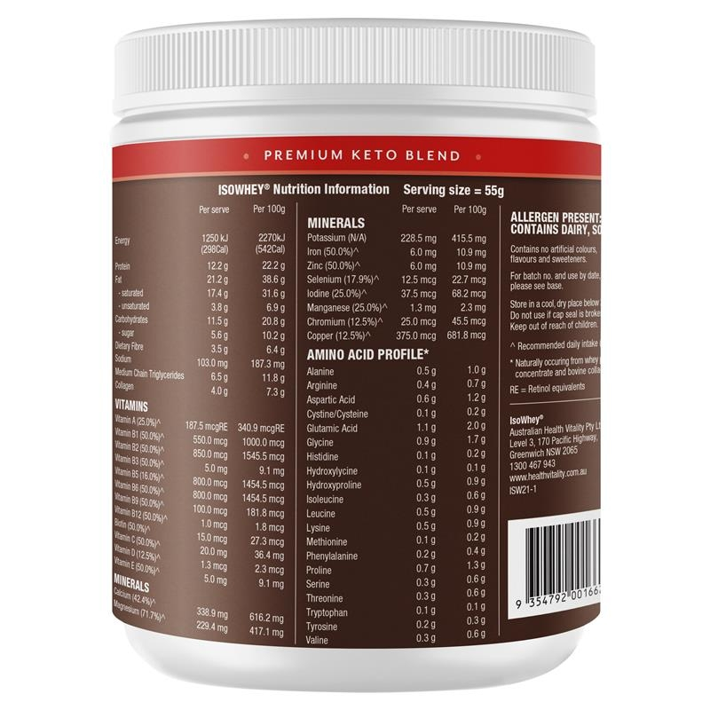 IsoWhey Keto Meal Replacement Shake Chocolate 550g