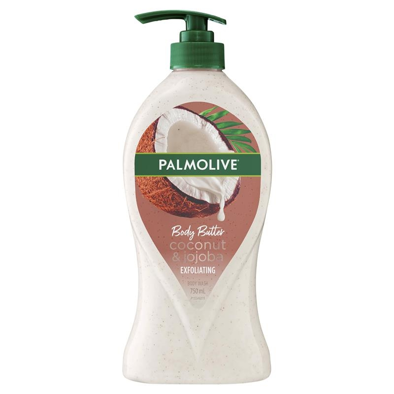 Sữa tắm Palmolive Body Butter Coconut Scrub Jojoba Exfoliating Body Wash 750mL