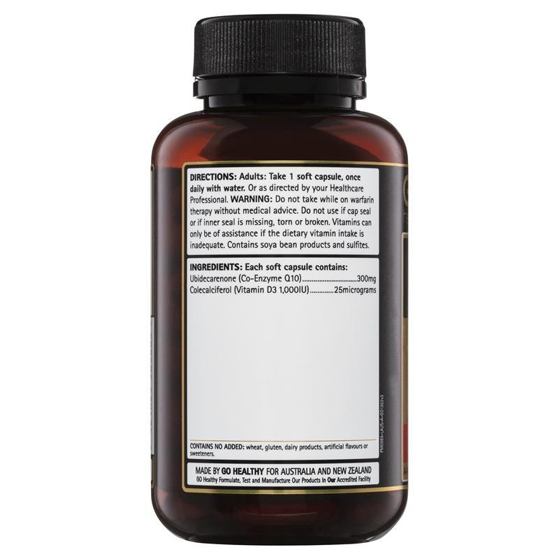 GO Healthy CoQ10 300mg + Vitamin D3 1000IU 90 Capsules