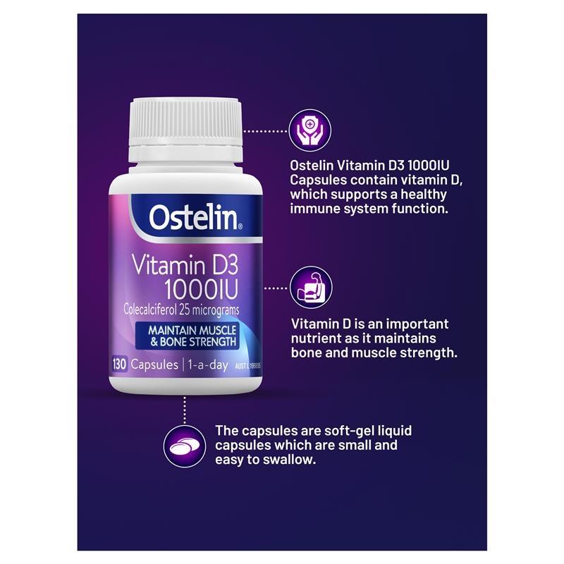 Ostelin Vitamin D3 1000IU - Vitamin D - 130 Capsules