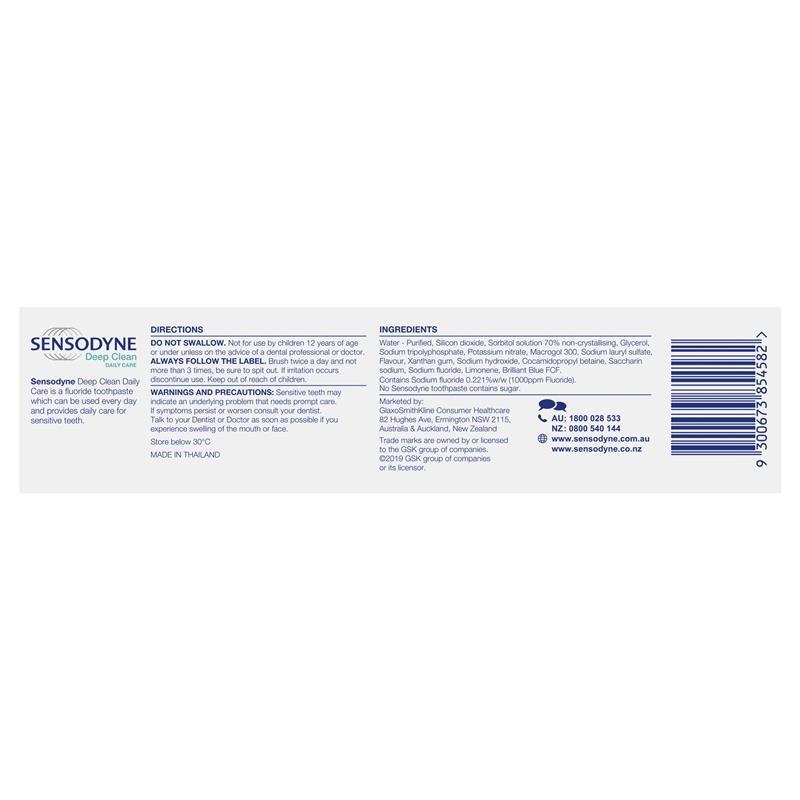 Sensodyne Toothpaste Deep Clean 160g Exclusive Size