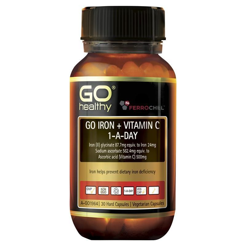 Go Healthy Iron + Vit C 500mg 30 Vege Capsules