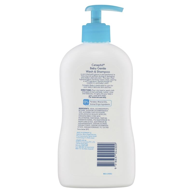 Sữa tắm gội cho bé Cetaphil Baby Gentle Wash and Shampoo 400ml