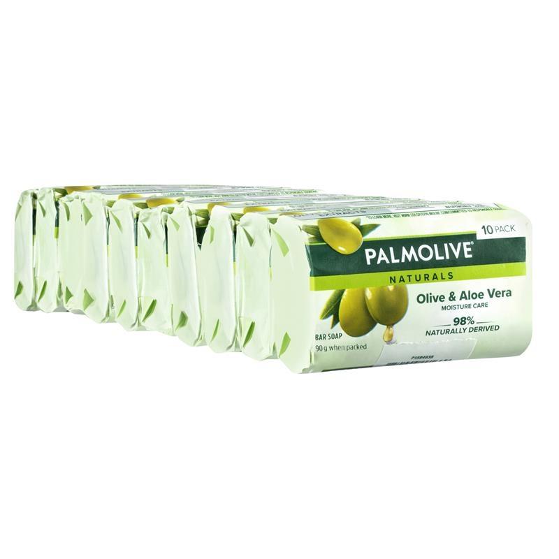 Xà phòng tắm chiết xuất lô hội và ô liu - Palmolive Naturals Moisture Care Bar Soap Aloe & Olive Extracts 10 x 90g