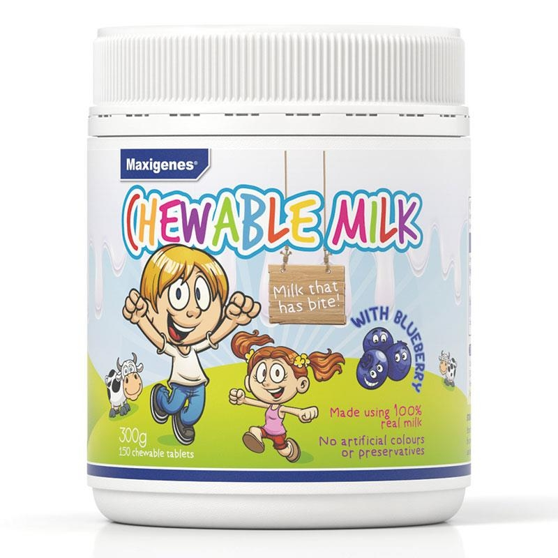 Viên nhai canxi Maxigenes Chewable Milk With Blueberry 150 Tablets