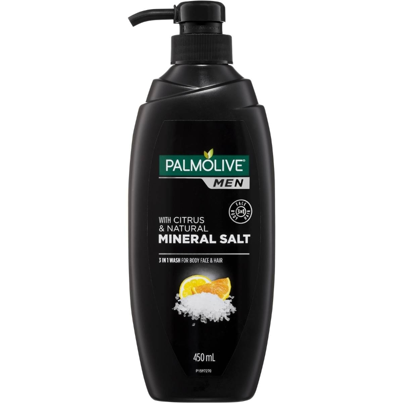 Sữa tắm gội 3 in 1 - Palmolive Men 3 In 1 Body Face Wash With Citrus & Mineral Salt 450ml