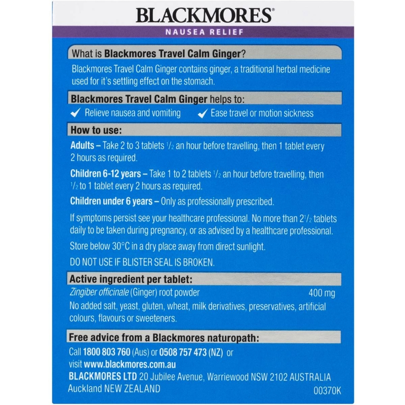 Blackmores Travel Calm Tablets With Ginger 45 pack