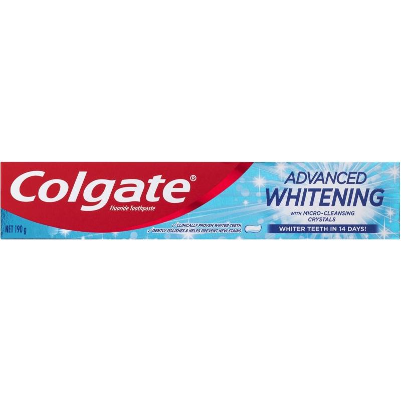 Kem đánh răng Colgate Advanced Whitening Fluoride Whiter Teeth Toothpaste 190g
